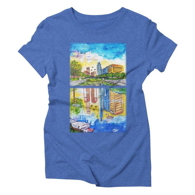 Downtown Reflecting Omaha Women's Triblend T-shirt by Brick Alley Studio's Artist Shop