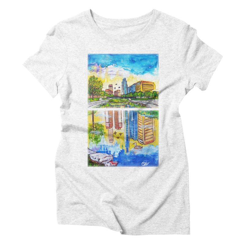 Downtown Reflecting Omaha Women's Triblend T-shirt by Brick Alley Studio's Artist Shop