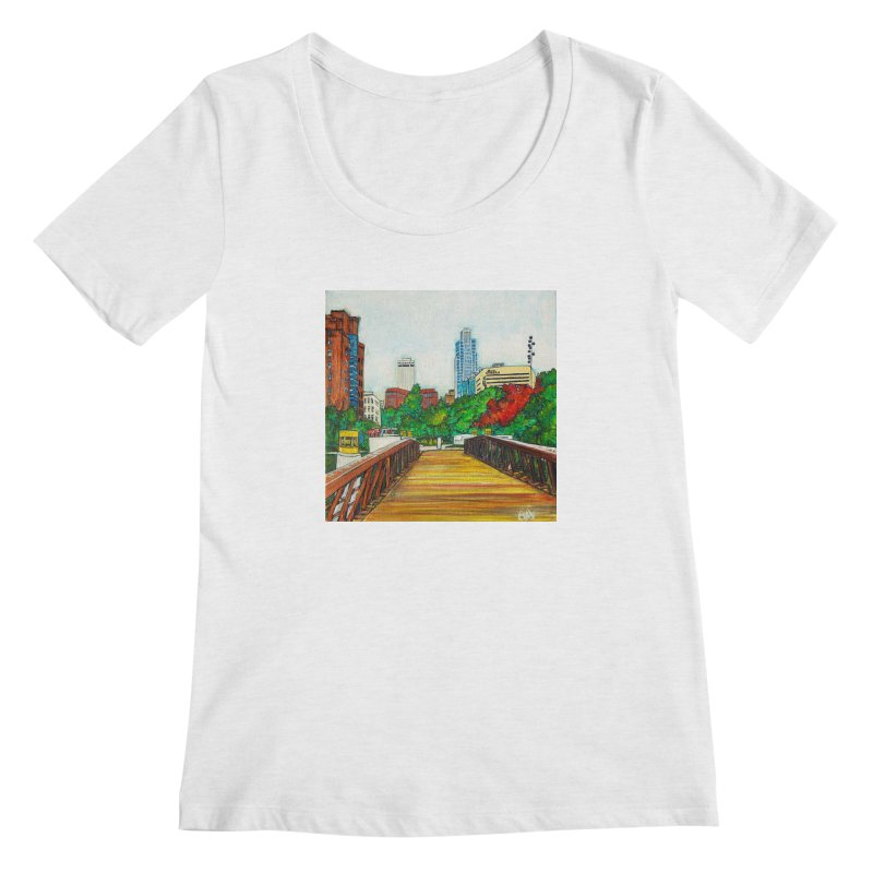 Bridge Over 8th Street Women's Regular Scoop Neck by Brick Alley Studio's Artist Shop