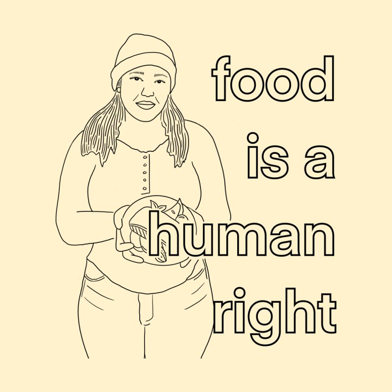 food is a human right by Symone Salib Men's T-Shirt by Broad Street Ministry