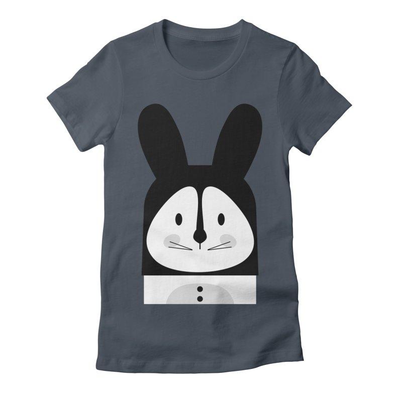 Rabbit BW Women's T-Shirt by BrocoliArtprint