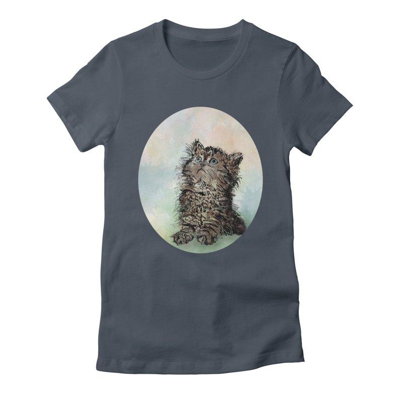 Kitten on Watercolor Women's T-Shirt by BrocoliArtprint