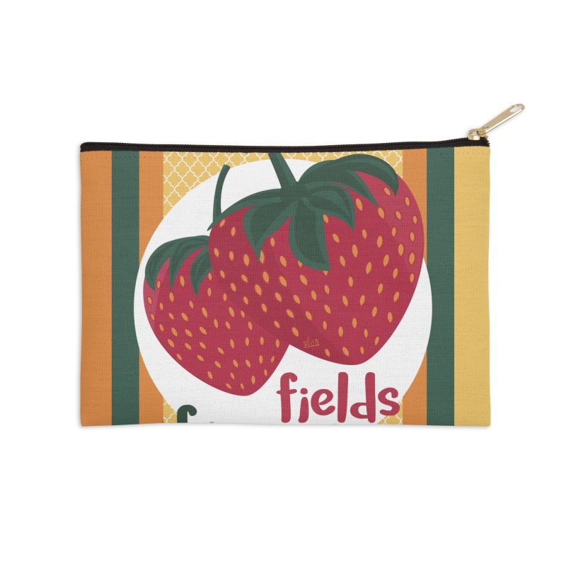 Strawberry Fields Accessories Zip Pouch by BrocoliArtprint