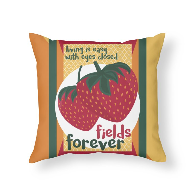 Strawberry Fields Home Throw Pillow by BrocoliArtprint