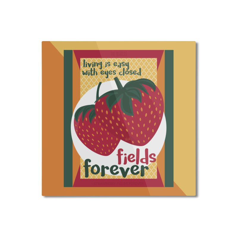 Strawberry Fields Home Mounted Aluminum Print by BrocoliArtprint