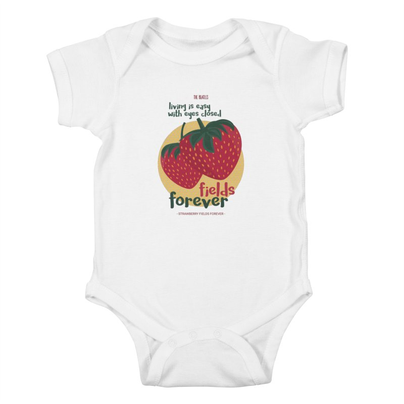 Strawberry Fields Kids Baby Bodysuit by BrocoliArtprint