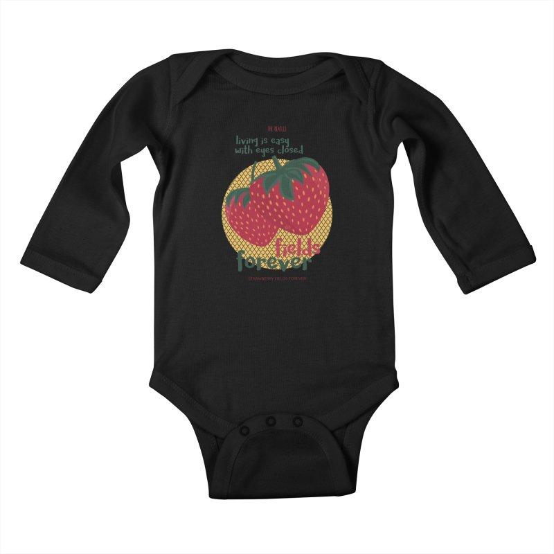 Strawberry Fields Kids Baby Longsleeve Bodysuit by BrocoliArtprint