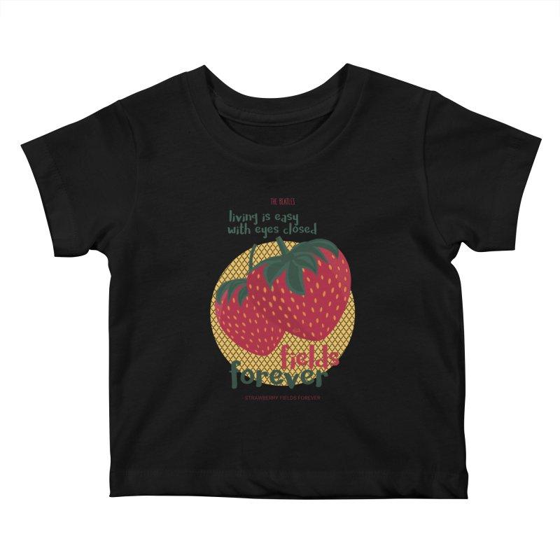 Strawberry Fields Kids Baby T-Shirt by BrocoliArtprint