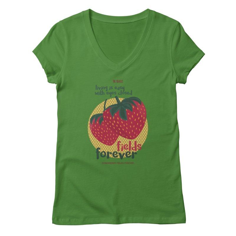 Strawberry Fields Women's V-Neck by BrocoliArtprint