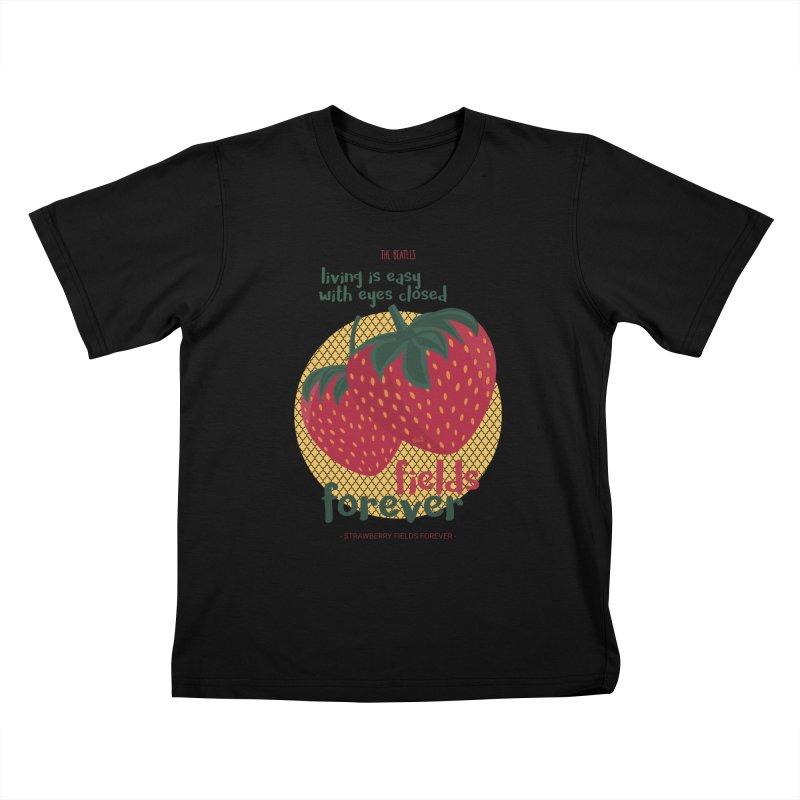 Strawberry Fields Kids T-Shirt by BrocoliArtprint