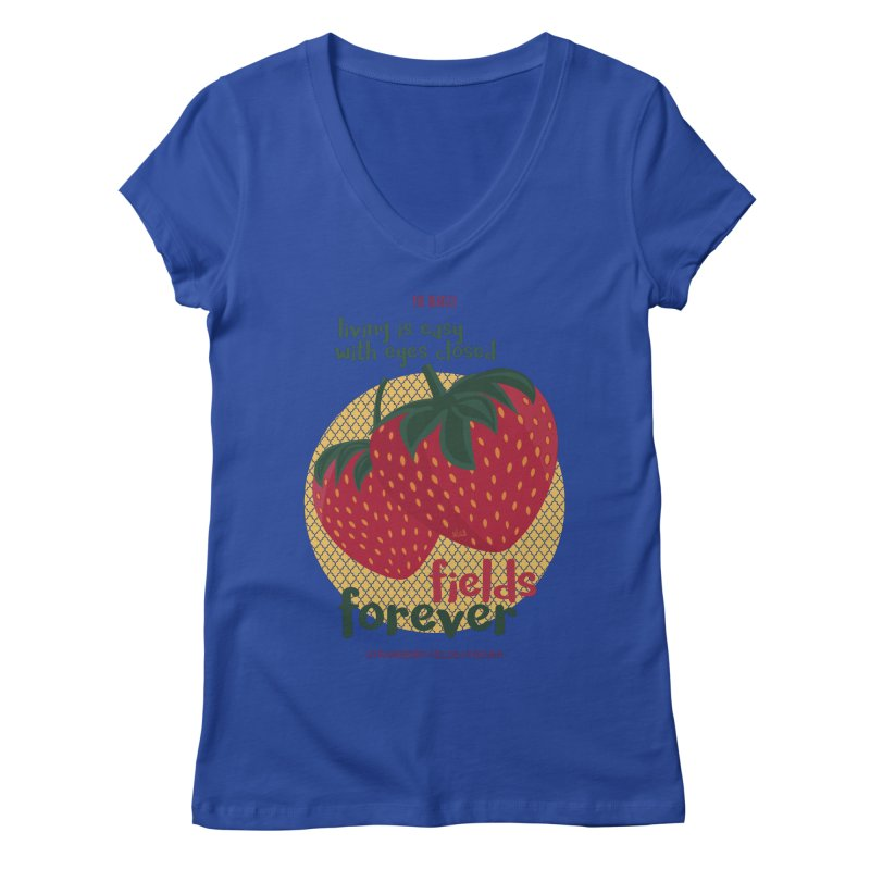 Strawberry Fields Women's V-Neck by BrocoliArtprint