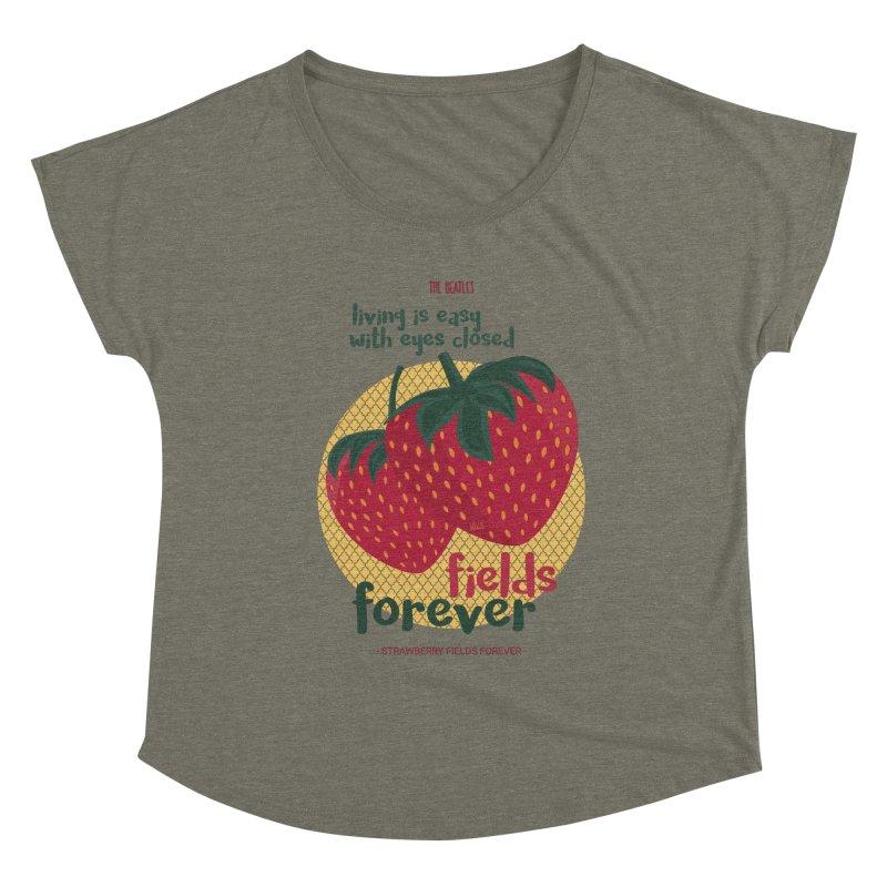 Strawberry Fields Women's Scoop Neck by BrocoliArtprint