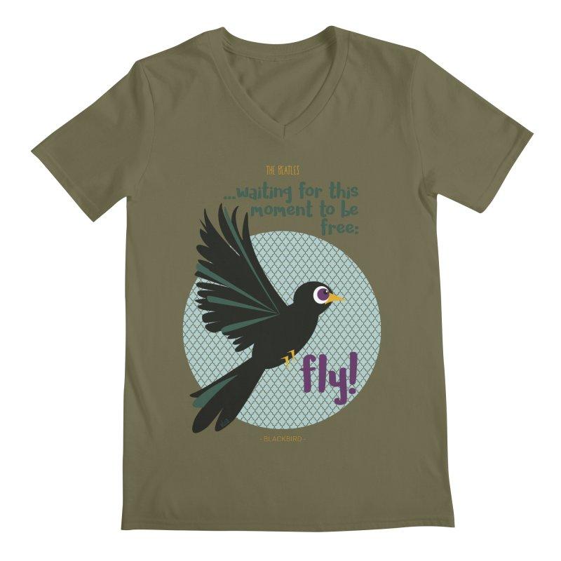 BlackBird Men's V-Neck by BrocoliArtprint