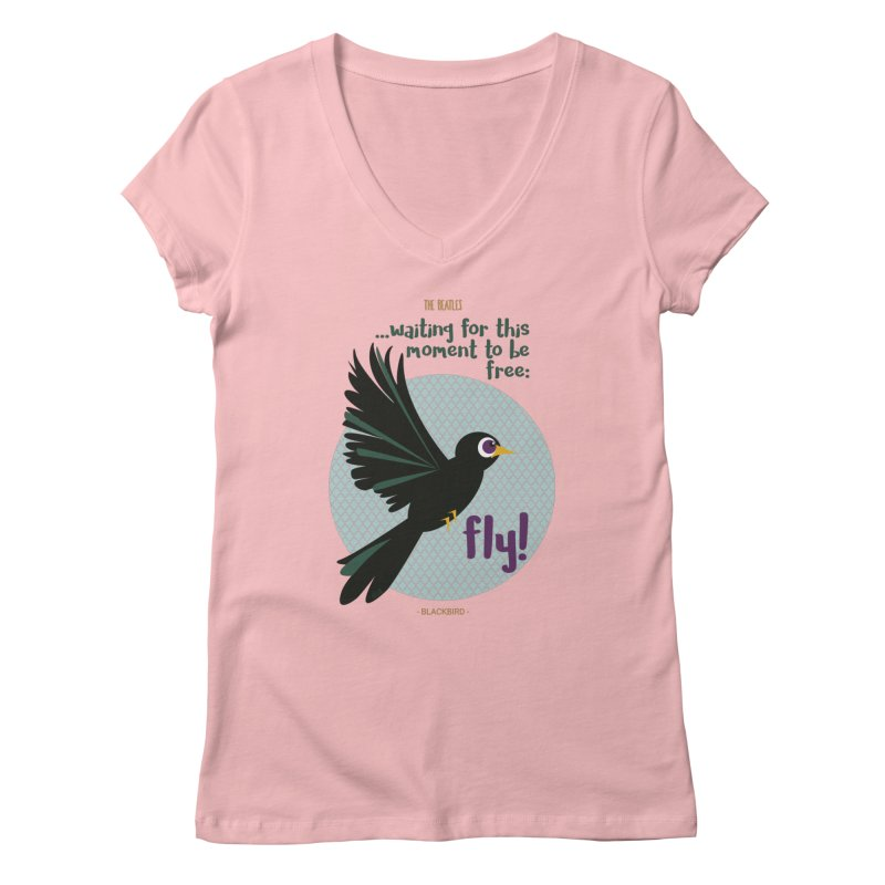 BlackBird Women's V-Neck by BrocoliArtprint