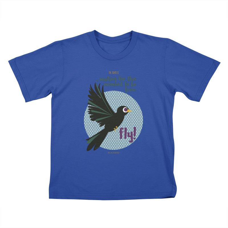 BlackBird Kids T-Shirt by BrocoliArtprint