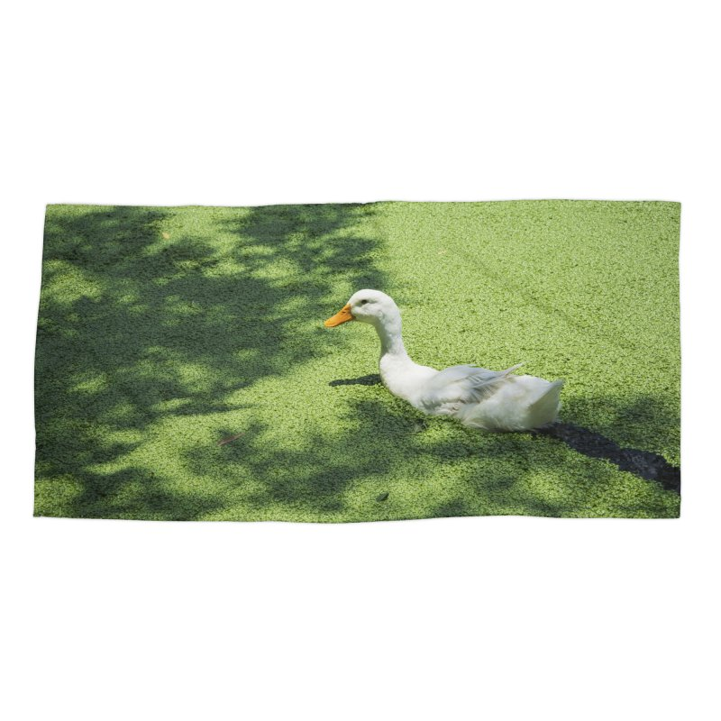 Duck over green peas Accessories Beach Towel by BrocoliArtprint