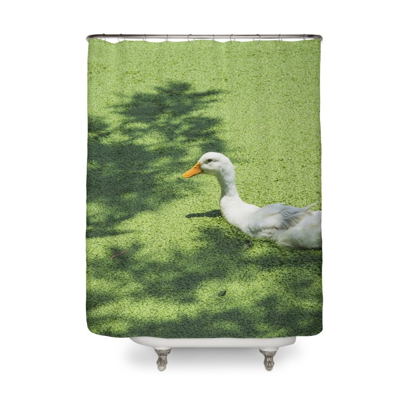 Duck over green peas Home Shower Curtain by BrocoliArtprint