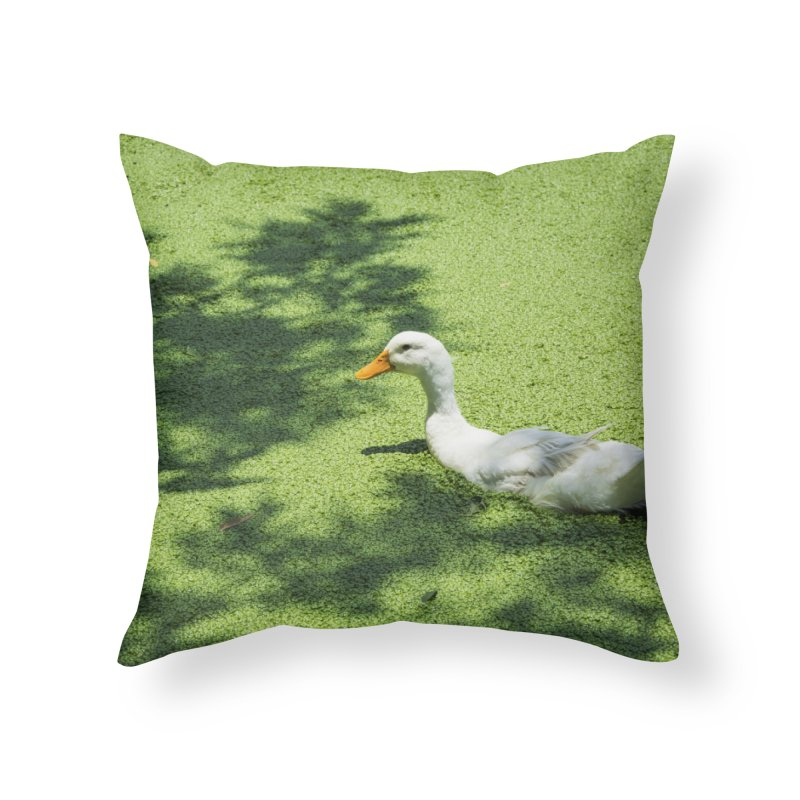 Duck over green peas Home Throw Pillow by BrocoliArtprint