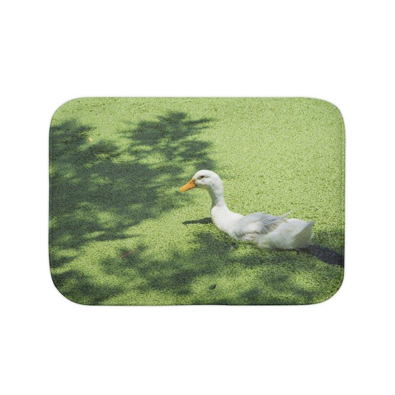 Duck over green peas Home Bath Mat by BrocoliArtprint