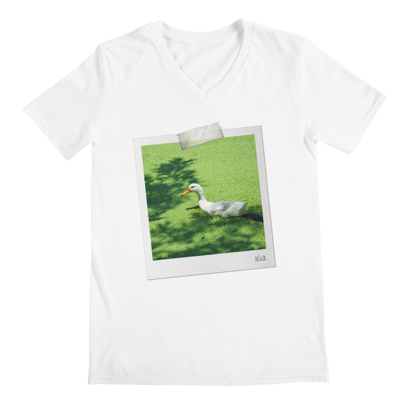 Duck over green peas Men's V-Neck by BrocoliArtprint