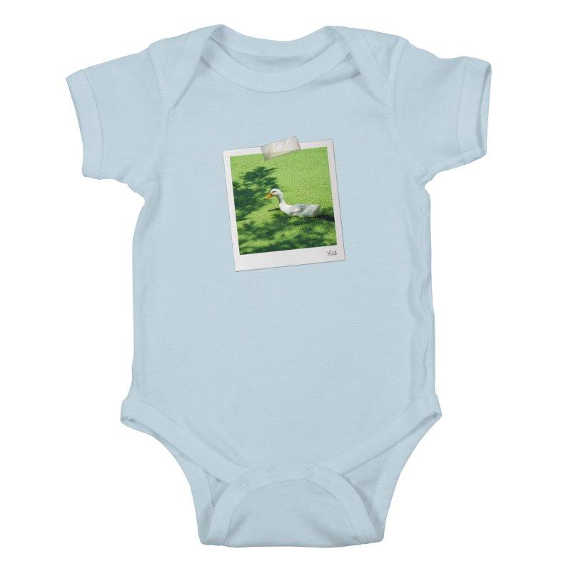 Duck over green peas Kids Baby Bodysuit by BrocoliArtprint