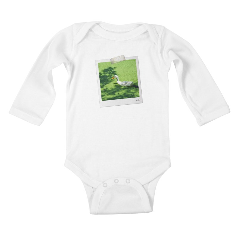 Duck over green peas Kids Baby Longsleeve Bodysuit by BrocoliArtprint