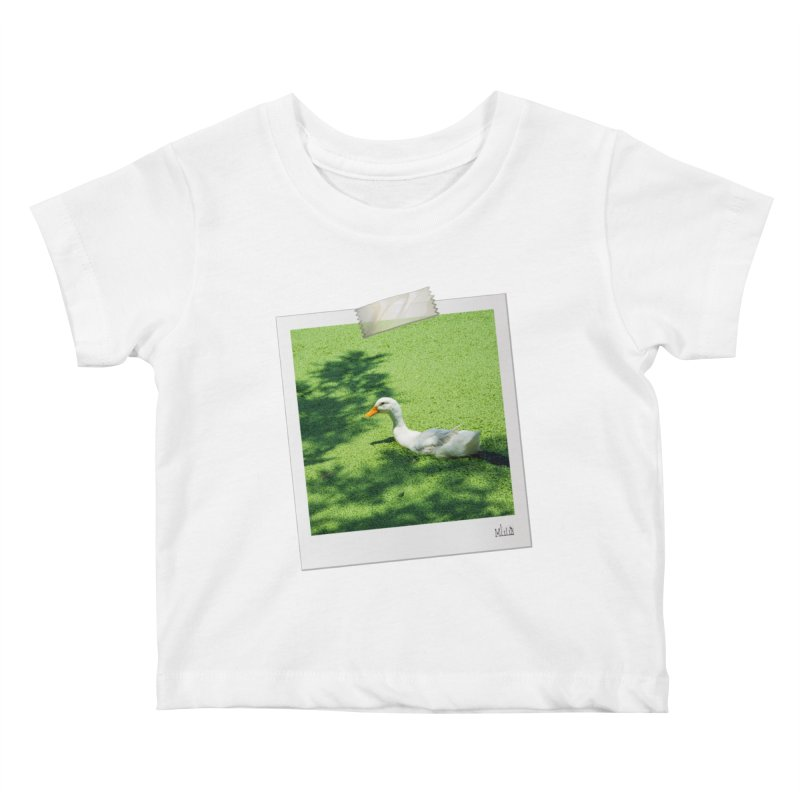 Duck over green peas Kids Baby T-Shirt by BrocoliArtprint