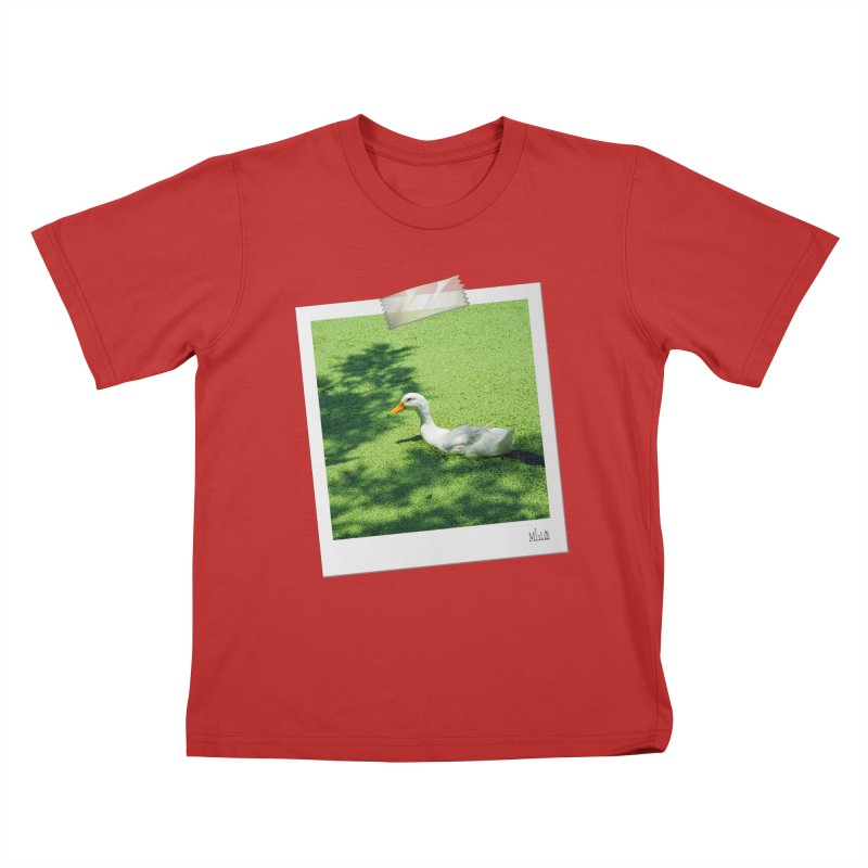 Duck over green peas Kids T-Shirt by BrocoliArtprint