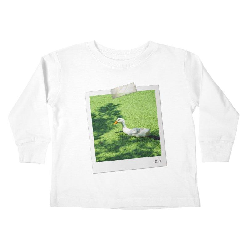 Duck over green peas Kids Toddler Longsleeve T-Shirt by BrocoliArtprint