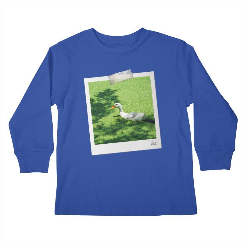 Duck over green peas Kids Longsleeve T-Shirt by BrocoliArtprint