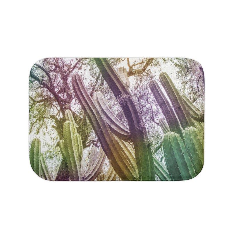 Rainbow Cactus Home Bath Mat by BrocoliArtprint