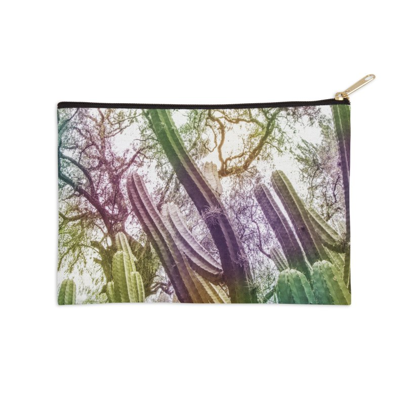 Rainbow Cactus Accessories Zip Pouch by BrocoliArtprint