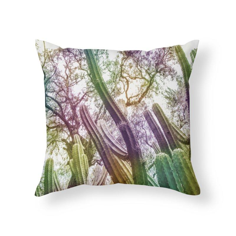Rainbow Cactus Home Throw Pillow by BrocoliArtprint