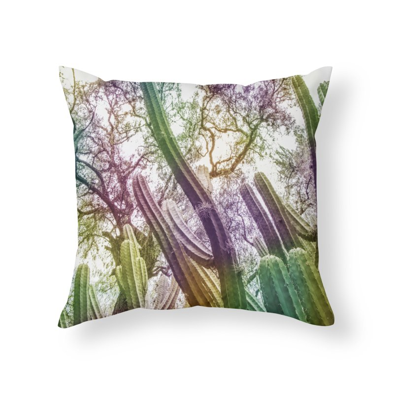Rainbow Cactus Home Throw Pillow by BrocoliArtprint