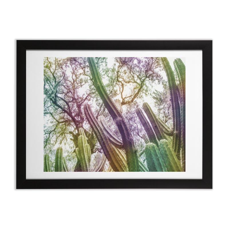 Rainbow Cactus Home Framed Fine Art Print by BrocoliArtprint