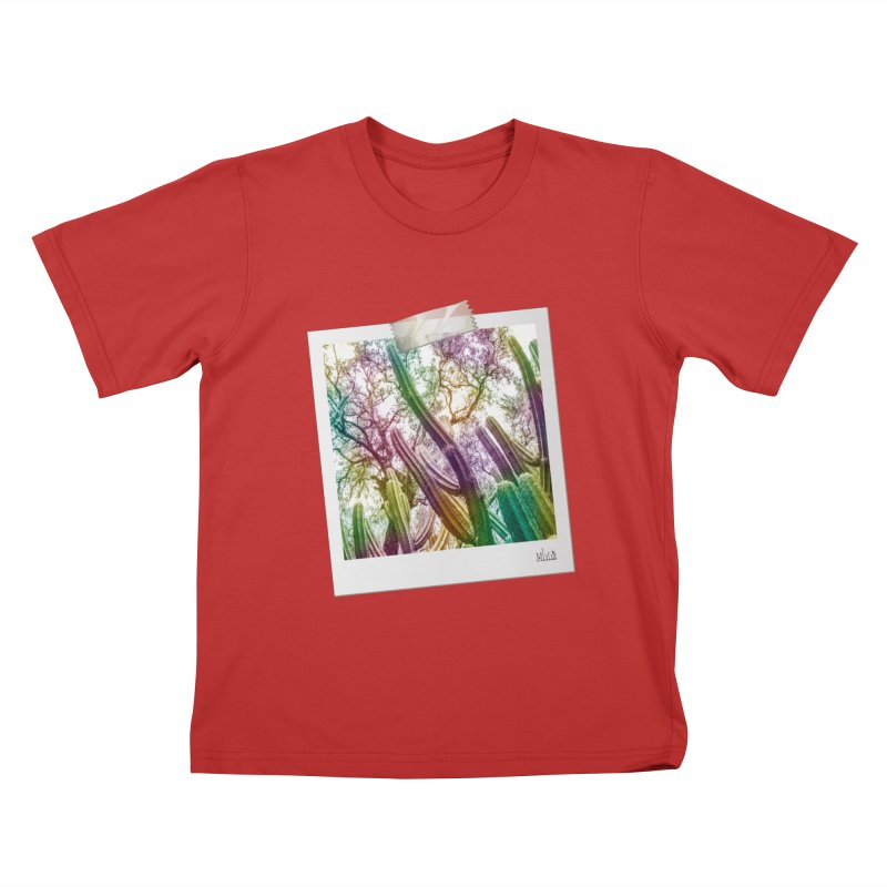 Rainbow Cactus Kids T-Shirt by BrocoliArtprint