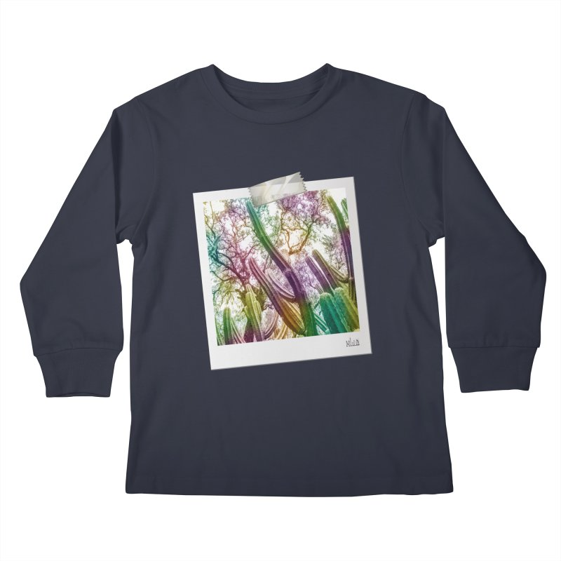 Rainbow Cactus Kids Longsleeve T-Shirt by BrocoliArtprint