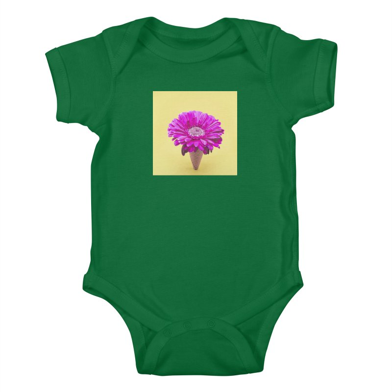 Flower Ice Cream Cone Kids Baby Bodysuit by BrocoliArtprint