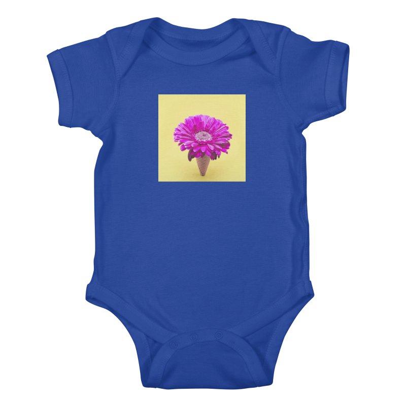 Flower Ice Cream Cone Kids Baby Bodysuit by BrocoliArtprint
