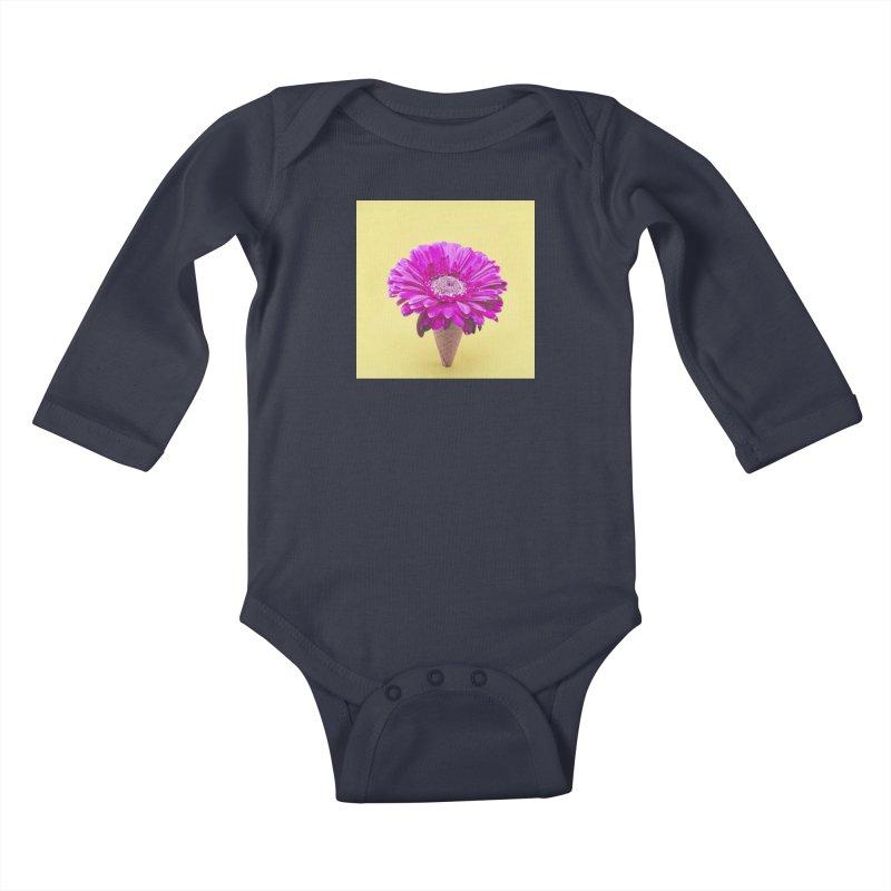 Flower Ice Cream Cone Kids Baby Longsleeve Bodysuit by BrocoliArtprint