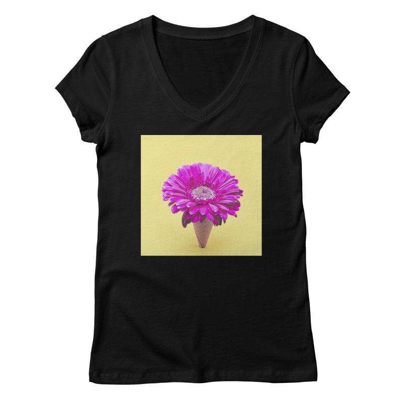 Flower Ice Cream Cone Women's V-Neck by BrocoliArtprint