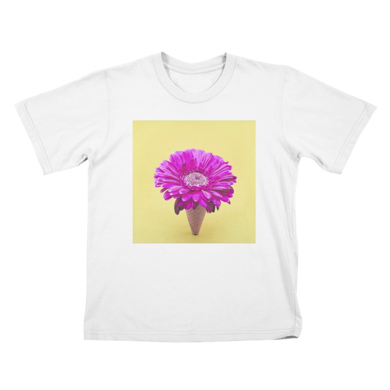 Flower Ice Cream Cone Kids T-Shirt by BrocoliArtprint