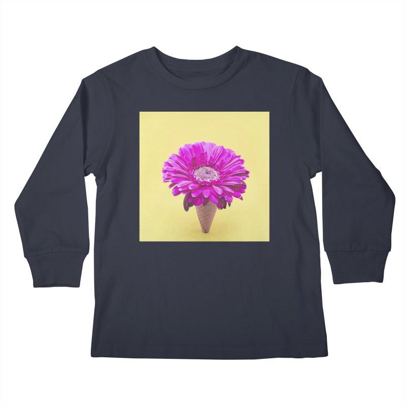 Flower Ice Cream Cone Kids Longsleeve T-Shirt by BrocoliArtprint