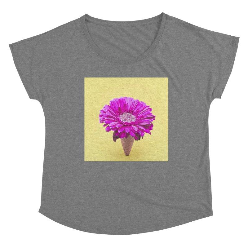 Flower Ice Cream Cone Women's Scoop Neck by BrocoliArtprint