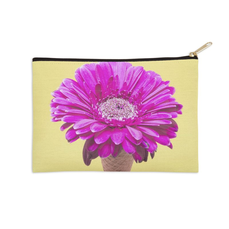Flower Ice Cream Cone Accessories Zip Pouch by BrocoliArtprint