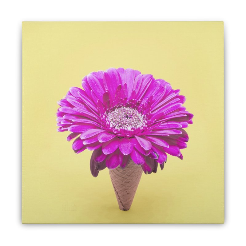 Flower Ice Cream Cone Home Stretched Canvas by BrocoliArtprint