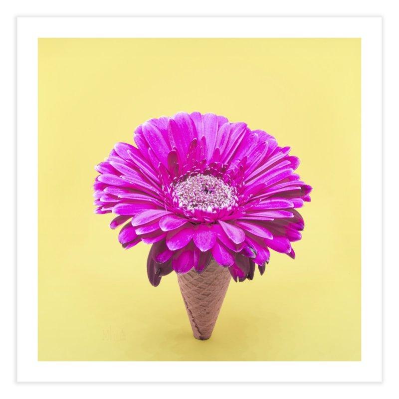 Flower Ice Cream Cone Home Fine Art Print by BrocoliArtprint