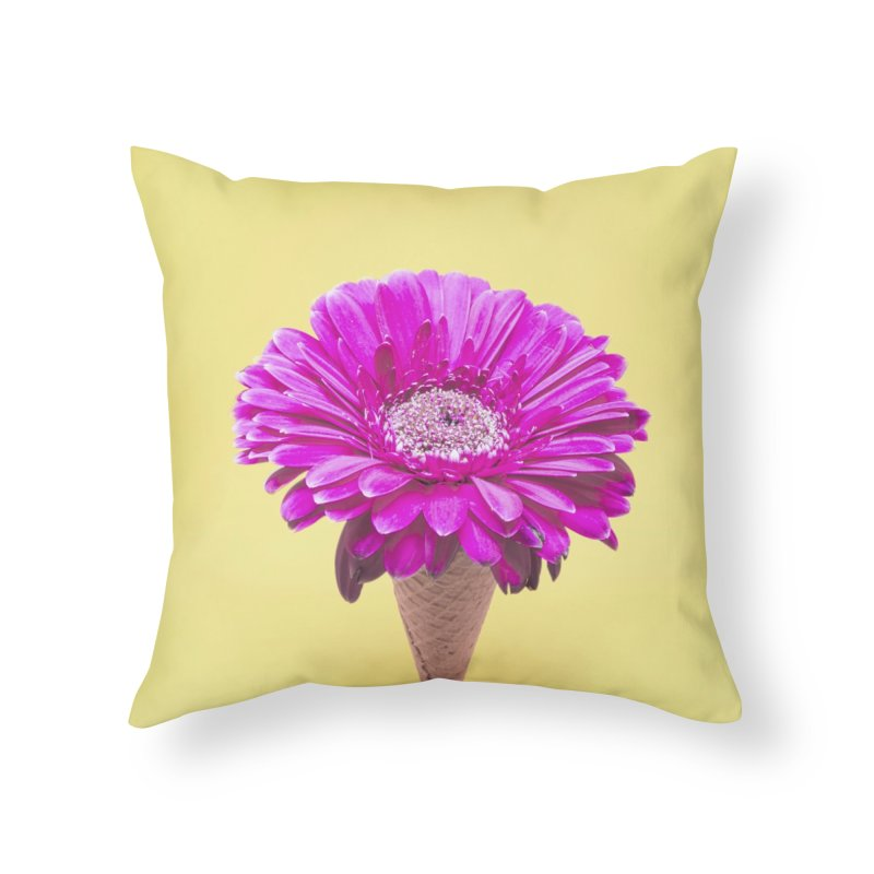 Flower Ice Cream Cone Home Throw Pillow by BrocoliArtprint