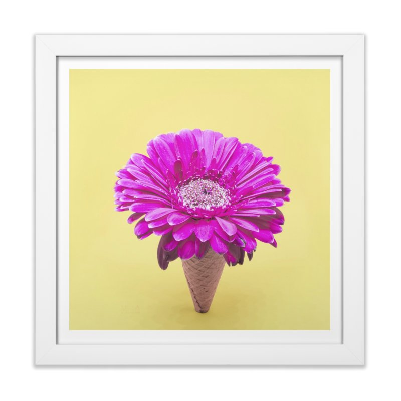 Flower Ice Cream Cone Home Framed Fine Art Print by BrocoliArtprint