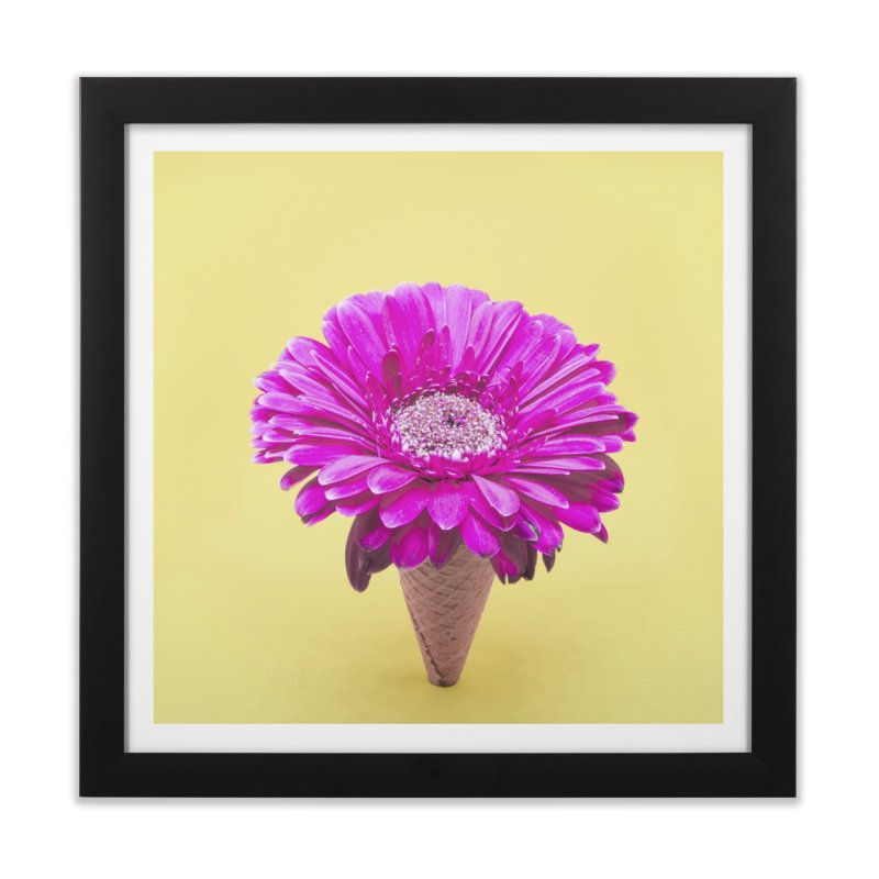 Flower Ice Cream Cone Home Framed Fine Art Print by BrocoliArtprint